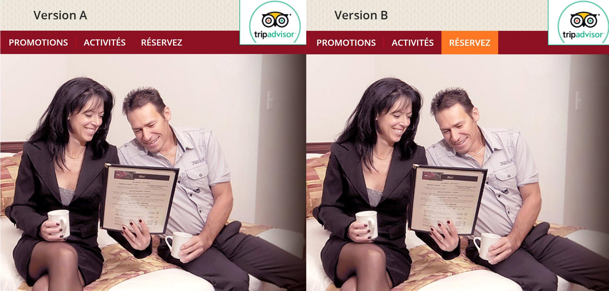 Deux versions du site de l'Hôtel le Floral pour un test A/B